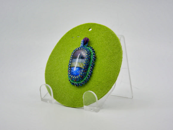Pendant with Dichroic Fused Glass Cabochon - Designer Craft Shop