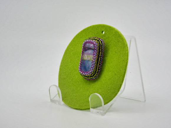 Brooch with Dichroic Fused Glass Cabochon - Designer Craft Shop