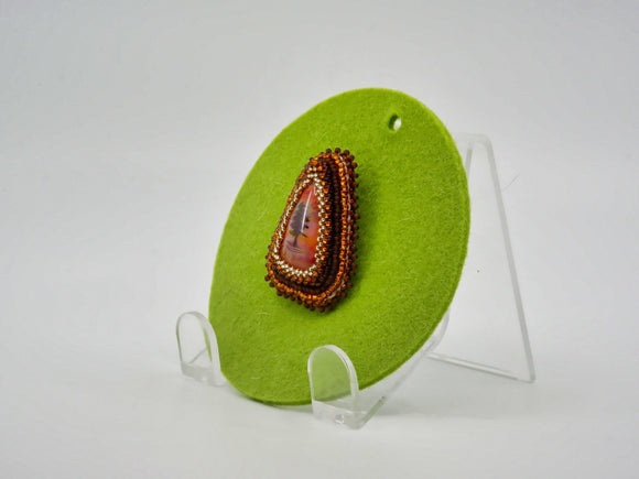 Brooch with Fused Glass Cabochon with Tree - Designer Craft Shop