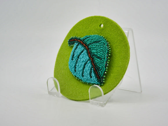 Green Leaf Beaded Brooch - Designer Craft Shop