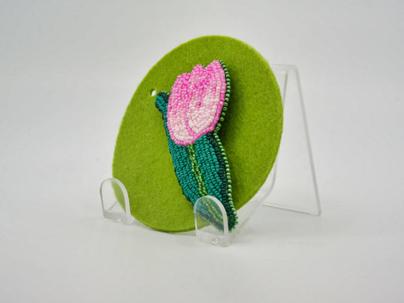 Pink Tulip Beaded Brooch - Designer Craft Shop