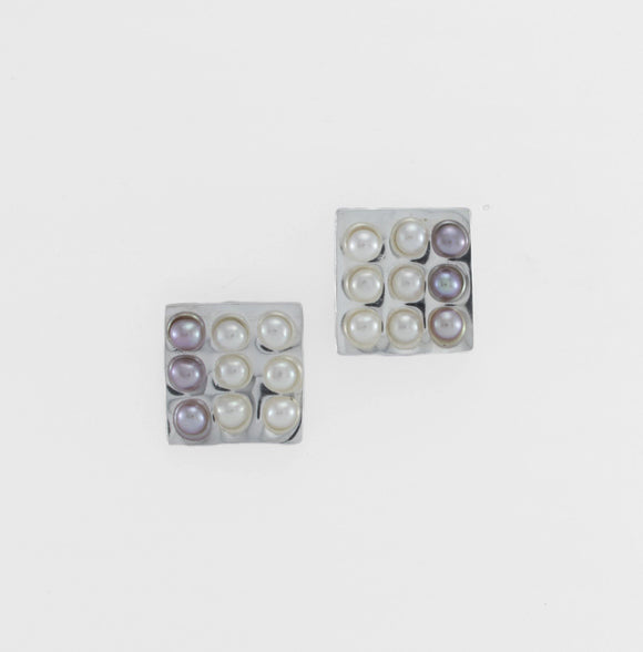 Grid Pearl Earrings - Designer Craft Shop