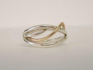 Flame Ring SS/14K Gold