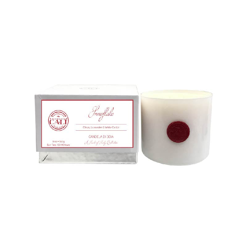 Snowflake - white cedar and lavender 18 oz Soy Candle - Scents of Sicily Collection