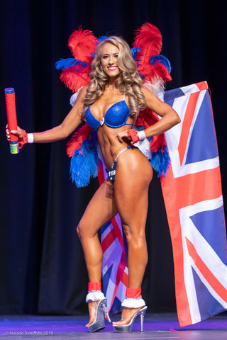 bikini competitor wears Union JAck national flag as costume in ANB themewear competition
