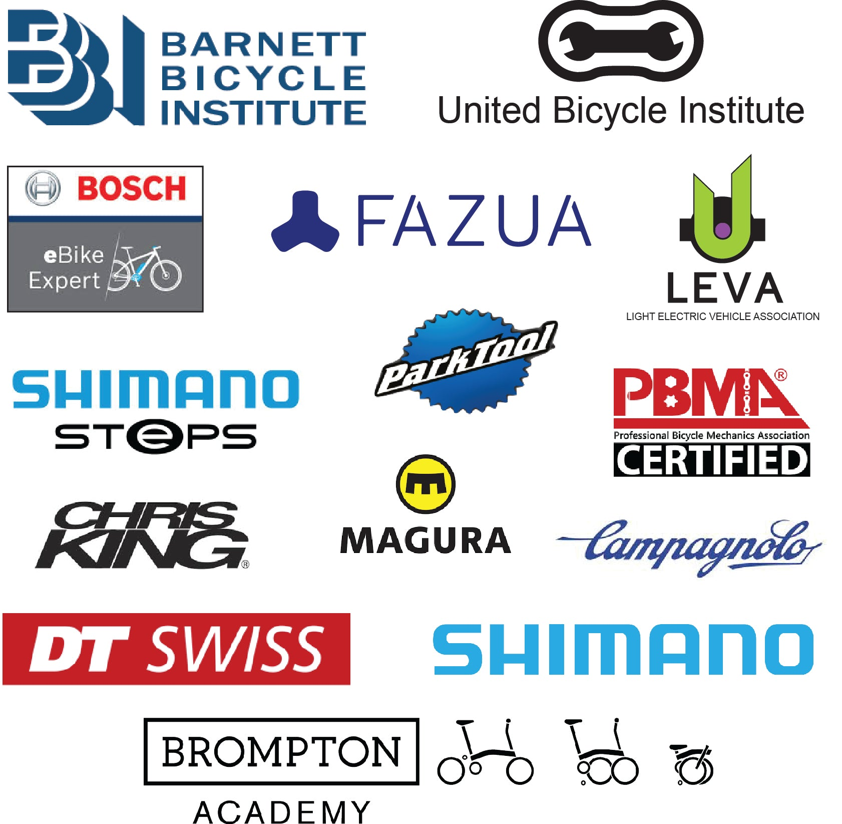 Ashburn Bicycle Repair mechanics are certified by the Barnett Bicycle Institute, the United Bicycle Institute, Bosch, Fazua, LEVA, Shimano, Park Tool, Professional Bicycle Mechanics Association, Chris King, Magura, Campagnolo, DT Swiss, and Brompton.