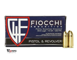 Ammunition Handgun: Fiocchi 9mm 115 Gr
