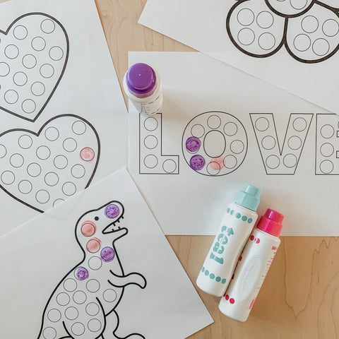 dot marker printable for valentine's day with dinosaurs and hearts