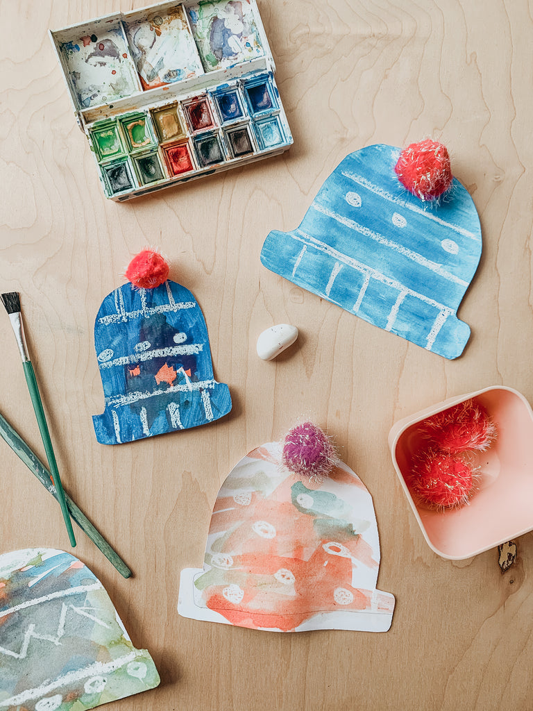 winter hat craft with crayons and watercolor