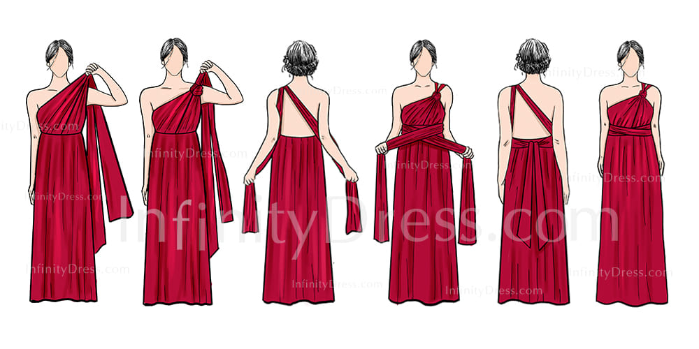 One shoulder knot infinity dress style