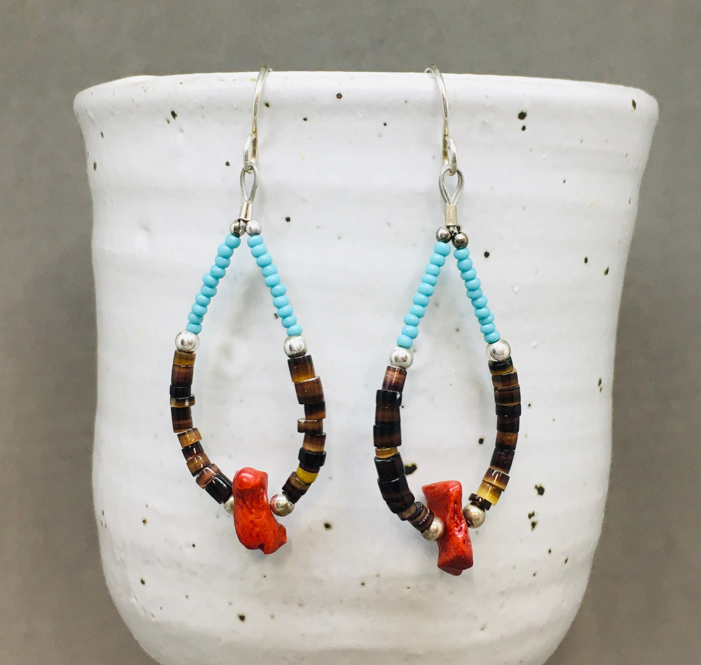 NAVAJO BEADED HOOPS (made to order)