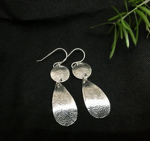 STERLING SILVER DISK AND TEARDROP