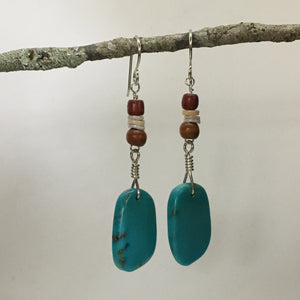 TURQUOISE, WOOD AND SHELL EARRINGS