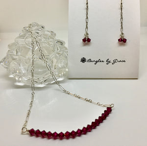 RASPBERRY CRYSTAL NECKLACE AND EARRING SET