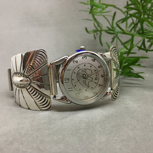 LARGE WATCH WITH STERLING SILVER TIPS