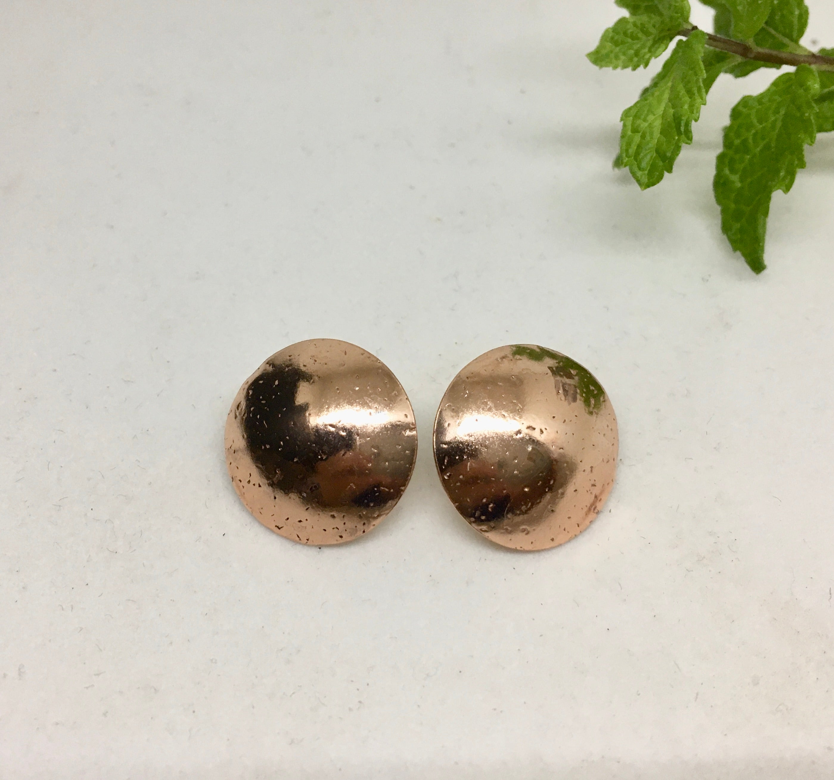 "COPPER ""BUTTON"" EARRINGS"