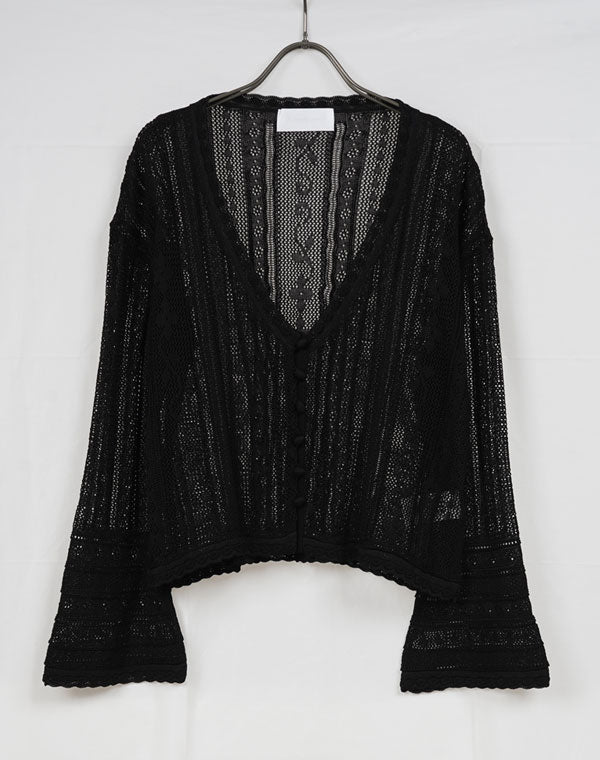 MM21SS-KN030 / Traditional Curtain Lace Knitted Cardigan / 156165211001