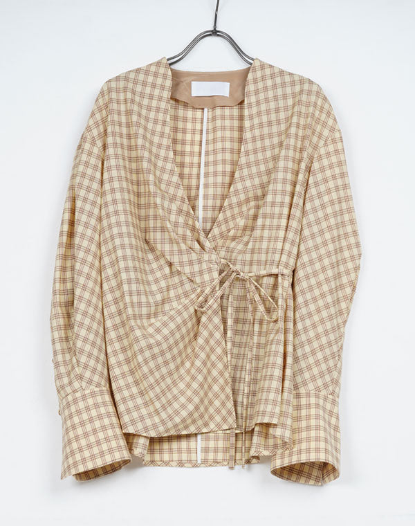 MM21SS-SH039 / SUMMER WOOL PLAID WRAP-FRONT TOP / 152165211005