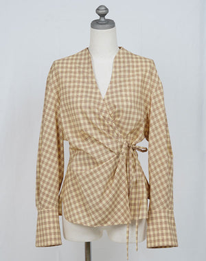 Load image into Gallery viewer, MM21SS-SH039 / SUMMER WOOL PLAID WRAP-FRONT TOP / 152165211005