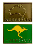 Magnetic Antique Brass/Gold Badge Enameled Green/Gold Australia Souvenir Evoke Headwear