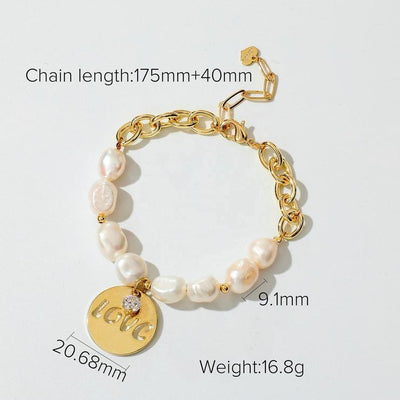 Best Gold Pearl Jewelry Gift | Best Aesthetic Yellow Gold Pearl Bracelet Jewelry Gift for Women, Girls, Girlfriend, Mother, Wife, Daughter | Mason & Madison Co.