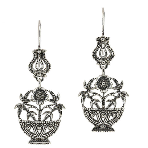 925 Sterling Silver Artisan Filigree Dangle Flower Basket Earrings