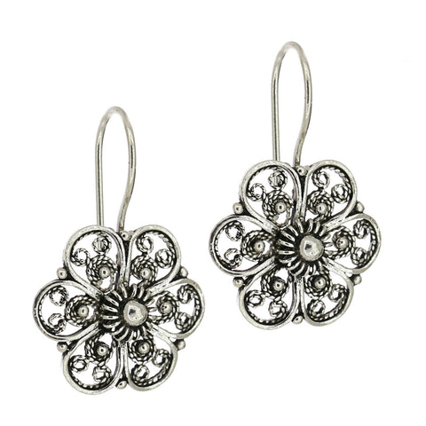 925 Sterling Silver Filigree Flower Drop Earrings