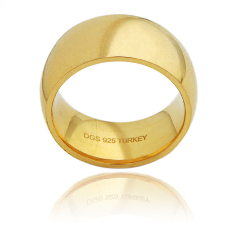 Sterling Silver 10 MM Gold Plated Comfort Fit Unisex Wedding Ring