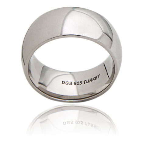 Sterling Silver 10 MM Comfort Fit Unisex Wedding Ring