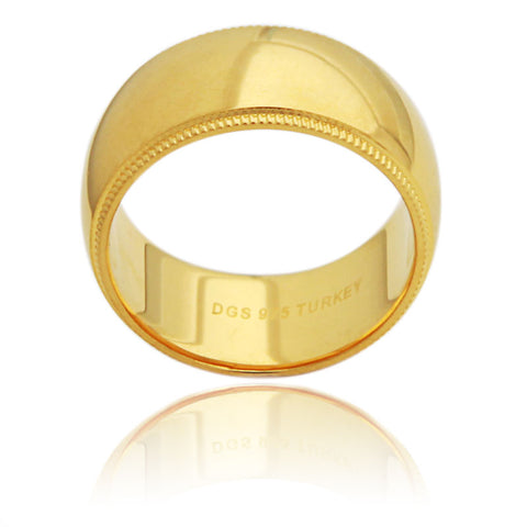 Sterling Silver 10 MM Gold Plated Milgrain Unisex Wedding Ring