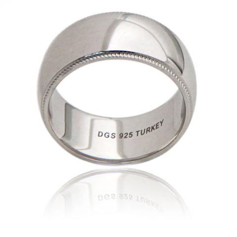Sterling Silver 10 MM Milgrain Unisex Wedding Ring