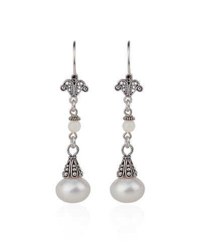 925 Sterling Silver Genuine Fresh Water Pearl  Dangle Drop Earrings