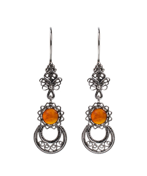 925  Sterling Silver Artisan Crafted Filigree Style Moon and Star Earrings Genuine Amber / Malachite Gemstones