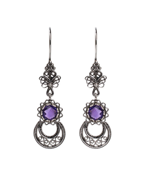 925  Sterling Silver Artisan Crafted Filigree Style Moon and Star Earrings Genuine Amethyst / Citrine Gemstones