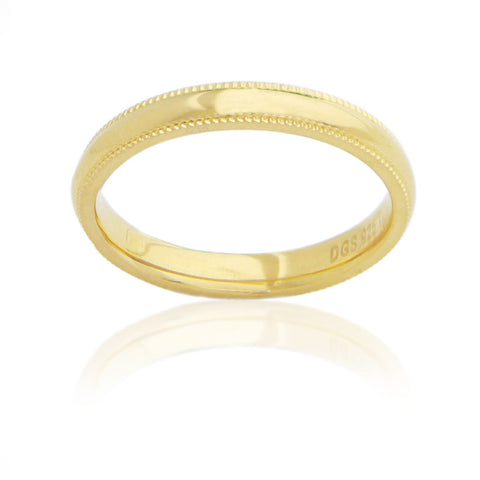 Sterling Silver 3 MM Gold Plated Milgrain Unisex Wedding Ring