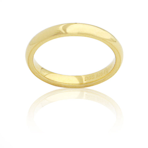 Sterling Silver 3 MM Gold Plated Comfort Fit Unisex Wedding Ring