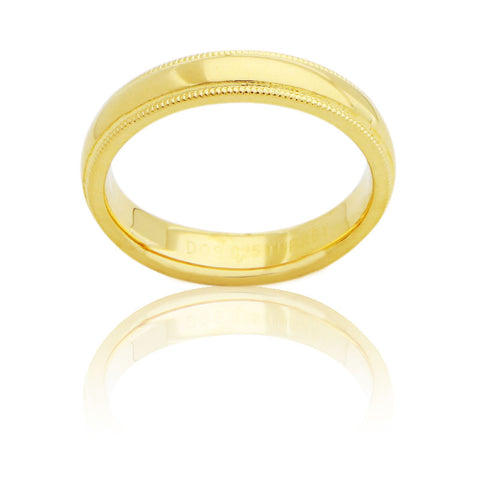 Sterling Silver 4 MM Gold Plated Milgrain Unisex Wedding Ring