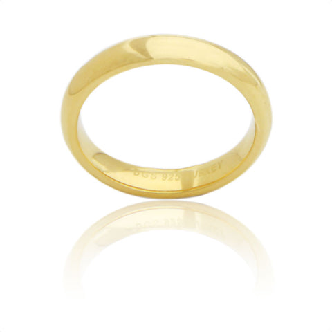 Sterling Silver 4 MM Gold Plated Comfort Fit Unisex Wedding Ring