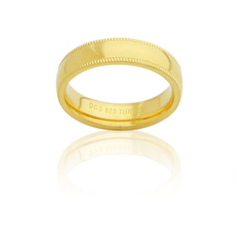 Sterling Silver 5 MM Gold Plated Milgrain Unisex Wedding Ring