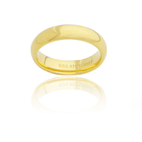 Sterling Silver 5 MM Gold Plated Comfort Fit Unisex Wedding Ring