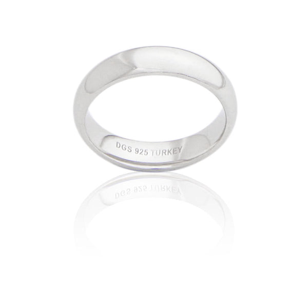 Sterling Silver 5 MM Comfort Fit Unisex Wedding Ring