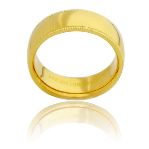 Sterling Silver 7 MM Gold Plated Milgrain Unisex Wedding Ring