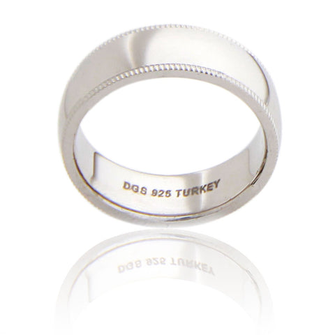 Sterling Silver 7 MM Milgrain Unisex Wedding Ring