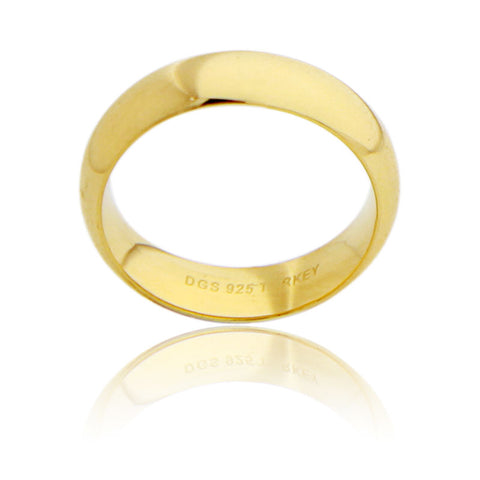 Sterling Silver 7 MM Gold Plated Comfort Fit Unisex Wedding Ring