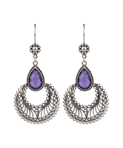 925 Sterling Silver Filigree Style Crescent Dangle Earrings Genuine Drop Shaped  Amethyst Citrine Prasiolite Blue Topaz Gemstones
