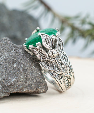 925 Sterling Silver Filigree Style Genuine Malachite Gemstone Bold Ring