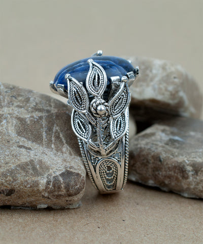 925 Sterling Silver Filigree Style Genuine Sodalite Gemstone Wrap Ring
