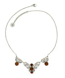 925 Sterling Silver Filigree Style Bib Necklace with Genuine Amber Gemstone