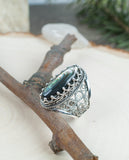 925 Sterling Silver Artisan Crafted Filigree Style Elongated Design Genuine Hematite / Blue Lace Agate / Ruby / Abalone Gemstones Ring