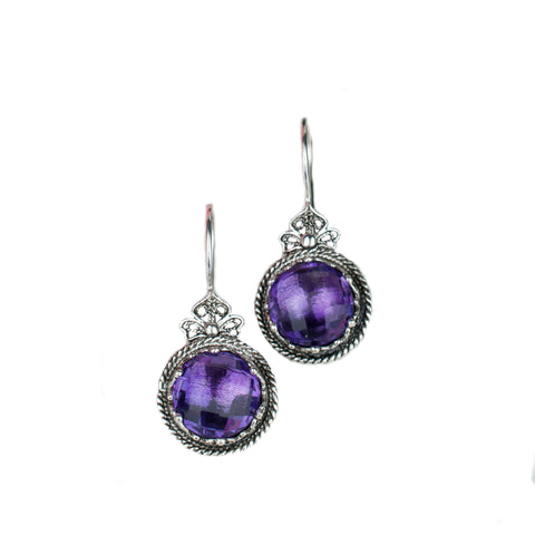 925 Sterling Silver Filigree Style Crown Earrings Genuine Amethyst / Blue Topaz Gemstones